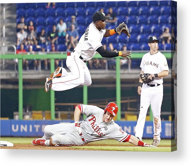 Double Play Acrylic Print featuring the photograph Adeiny Hechavarria and Chase Utley by Rob Foldy