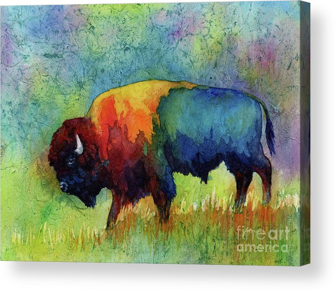 Bison Acrylic Print featuring the painting American Buffalo III by Hailey E Herrera