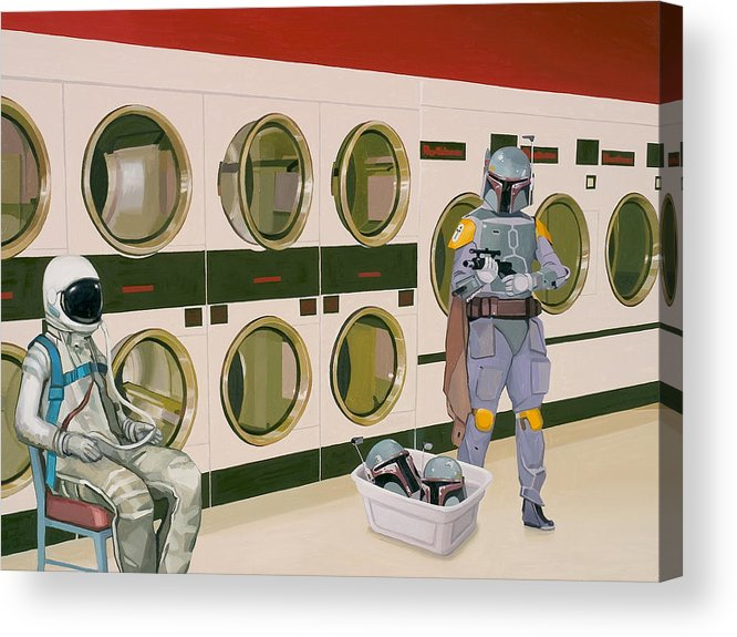 Astronaut Acrylic Print featuring the painting At the Laundromat with Boba Fett by Scott Listfield