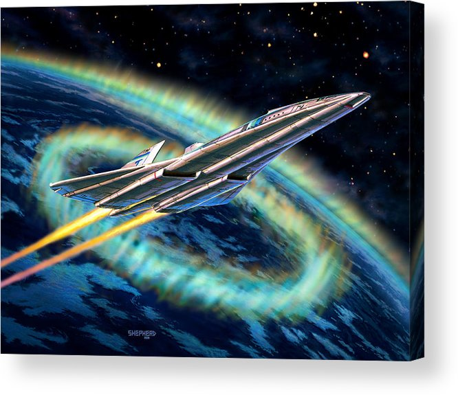 Space Acrylic Print featuring the painting Auroral Fire by Stu Shepherd