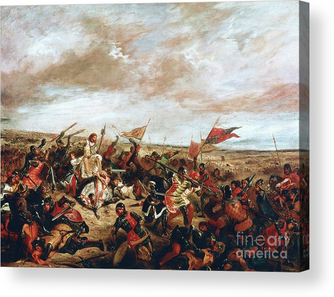 Poitiers Acrylic Print featuring the painting Battle of Poitiers on September 19, 1356 by Ferdinand Victor Eugene Delacroix