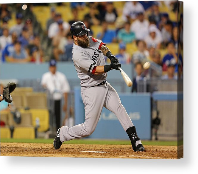 Ninth Inning Acrylic Print featuring the photograph Brandon League, Mike Napoli, and Dustin Pedroia by Victor Decolongon