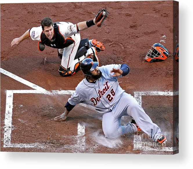 Game Two Acrylic Print featuring the photograph Buster Posey and Prince Fielder by Christian Petersen