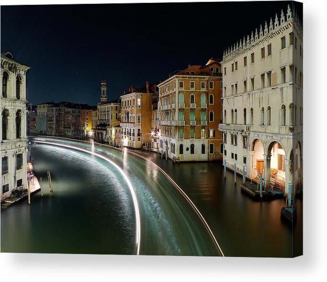 Post Acrylic Print featuring the photograph Canal Grande at night by Bernd Schunack