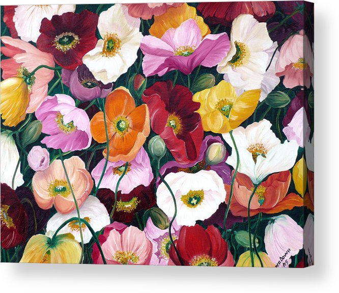 Flower Painting Floral Painting Poppy Painting Icelandic Poppies Painting Botanical Painting Original Oil Paintings Greeting Card Painting Acrylic Print featuring the painting Cascade Of Poppies by Karin Dawn Kelshall- Best
