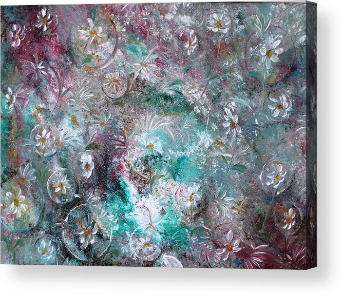 Original Flower Abstract Painting Acrylic Print featuring the painting Daisy Dreamz by Karin Dawn Kelshall- Best