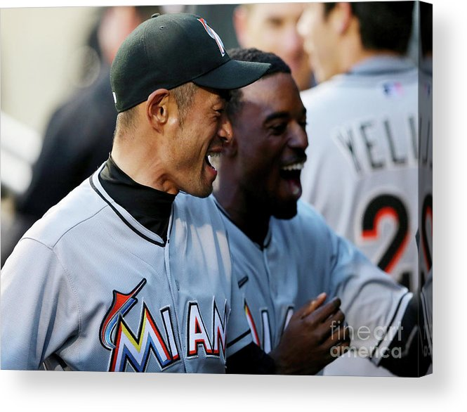 American League Baseball Acrylic Print featuring the photograph Dee Gordon, Ichiro Suzuki, and Giancarlo Stanton by Elsa