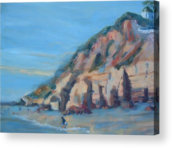 Seascape Acrylic Print featuring the painting Dog Beach   Del Mar Ca by Bryan Alexander