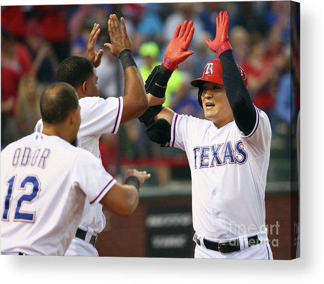 People Acrylic Print featuring the photograph Elvis Andrus, Shin-soo Choo, and Rougned Odor by Tom Pennington