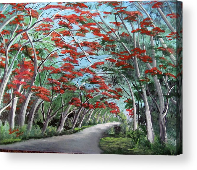 Flamboyan Acrylic Print featuring the painting Flamboyanes by Luis F Rodriguez