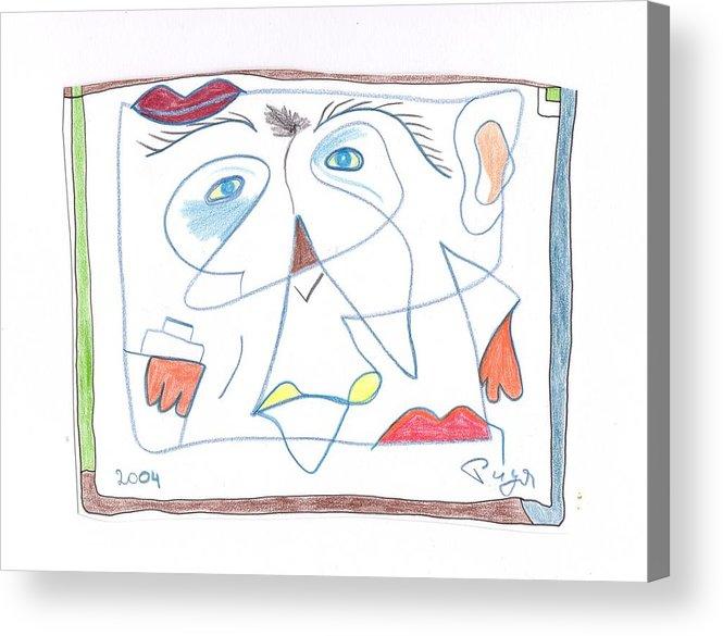 Joan Miro Acrylic Print featuring the drawing Hommage At Joan Miro by Michael Puya