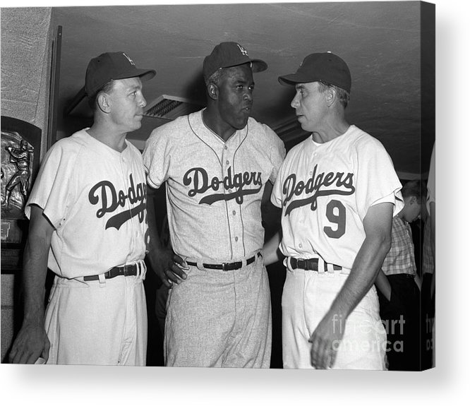 Jackie Robinson Acrylic Print featuring the photograph Jackie Robinson and Pee Wee Reese by Olen Collection