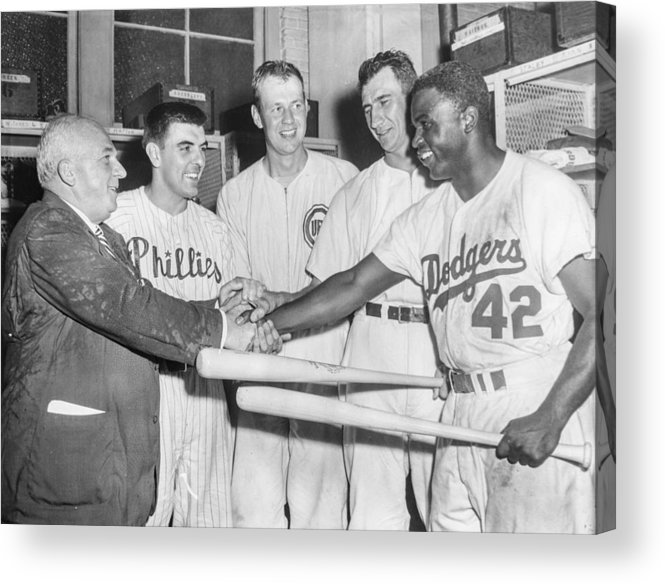 American League Baseball Acrylic Print featuring the photograph Jackie Robinson by The Stanley Weston Archive