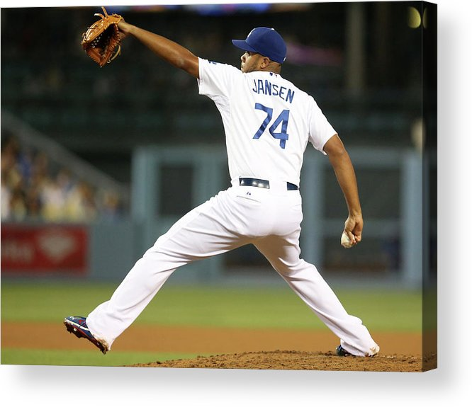 Ninth Inning Acrylic Print featuring the photograph Kenley Jansen by Stephen Dunn