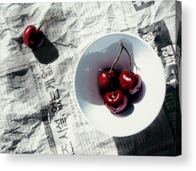 Cherries Acrylic Print featuring the painting Korean Cherries by Dianna Ponting
