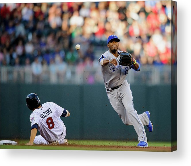 Double Play Acrylic Print featuring the photograph Kurt Suzuki and Alcides Escobar by Hannah Foslien