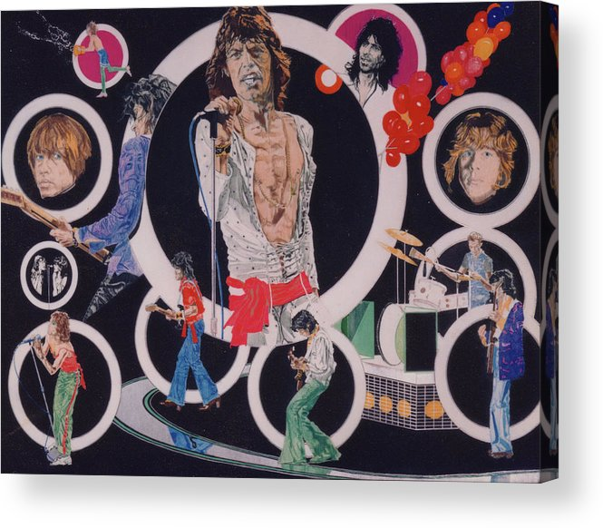 The Rolling Stones Acrylic Print featuring the drawing Ladies And Gentlemen - The Rolling Stones by Sean Connolly