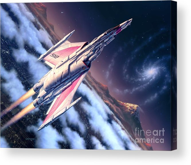 Spaceship Acrylic Print featuring the digital art Launch At Dawn by Stu Shepherd