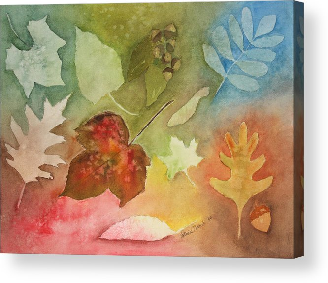 Leaves Acrylic Print featuring the painting Leaves V by Patricia Novack