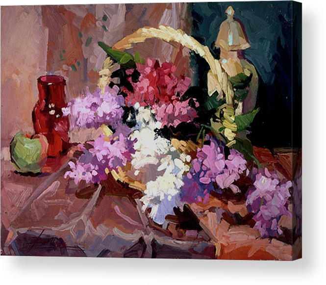 Floral Acrylic Print featuring the painting Lilacs by Betty Jean Billups