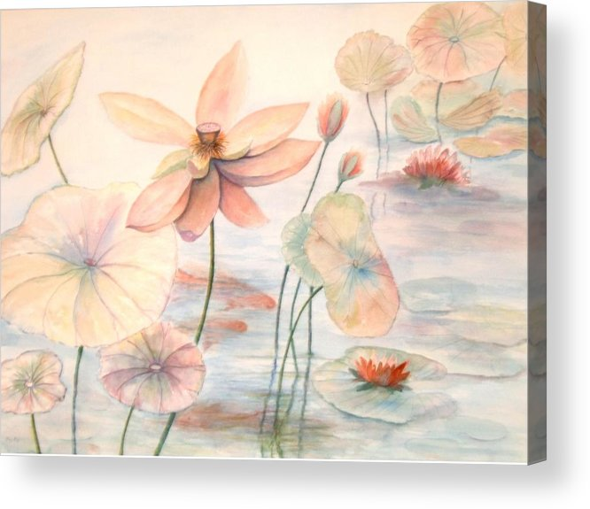 Lily Pads And Lotus Blossoms Acrylic Print featuring the painting Lily Pads by Ben Kiger