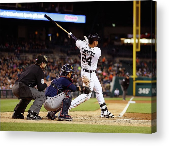 People Acrylic Print featuring the photograph Miguel Cabrera and Kurt Suzuki by Gregory Shamus