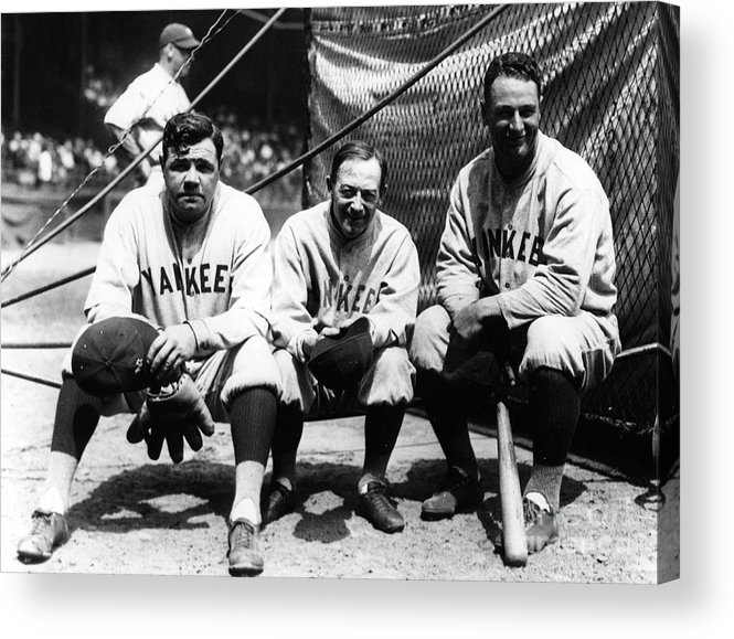 American League Baseball Acrylic Print featuring the photograph Miller Huggins, Lou Gehrig, and Babe Ruth by Transcendental Graphics