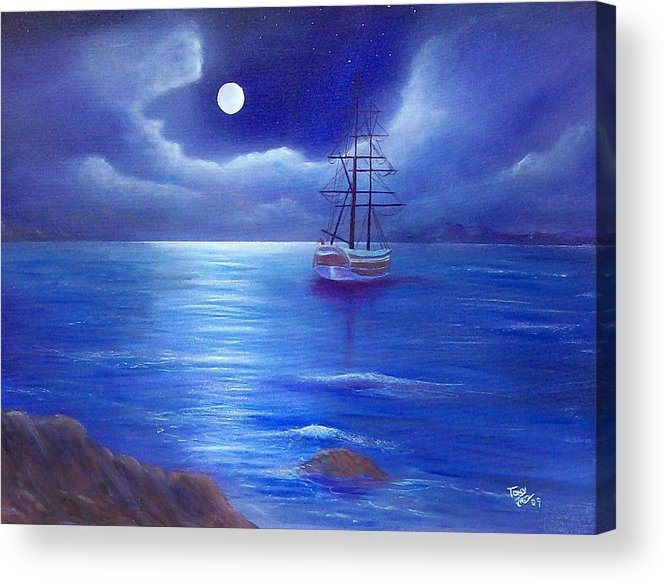 Seascape Acrylic Print featuring the painting Night Seascape by Tony Rodriguez