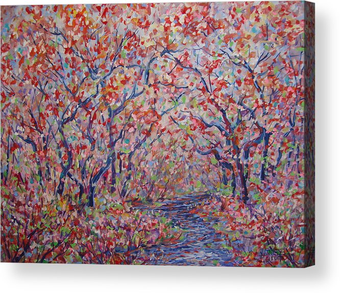 Landscape Acrylic Print featuring the painting Poetic Forest. by Leonard Holland