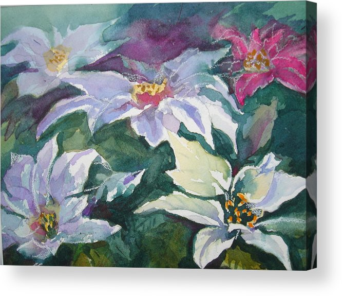Poinsettias Acrylic Print featuring the painting Poinsettias by Judy Fischer Walton