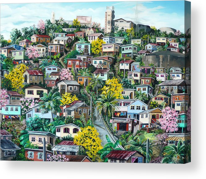 Landscape Painting Cityscape Painting Original Oil Painting  Blossoming Poui Tree Painting Lavantille Hill Trinidad And Tobago Painting Caribbean Painting Tropical Painting Acrylic Print featuring the painting Poui On The Hill by Karin Dawn Kelshall- Best