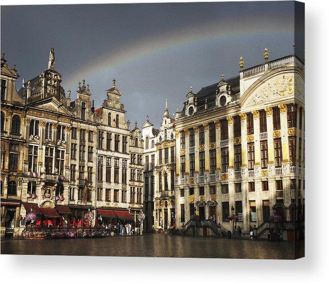 Belgium Acrylic Print featuring the photograph Rainbow over Grand Place by Leonardo Regoli