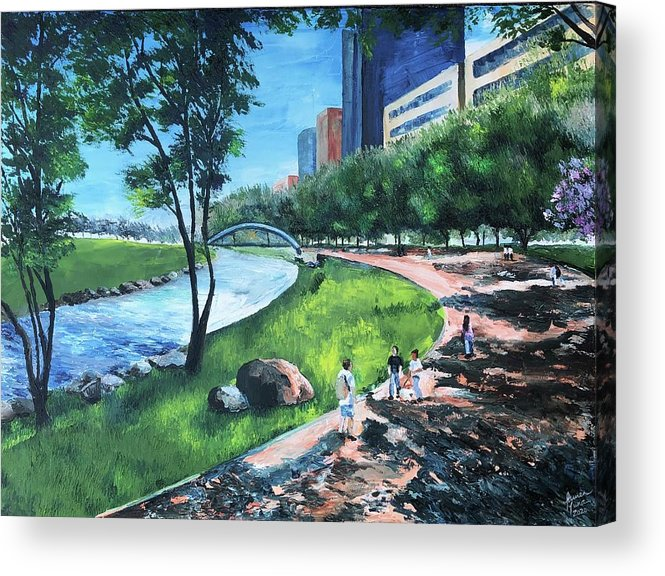 River Acrylic Print featuring the painting Riverwalk by Lauren Luna