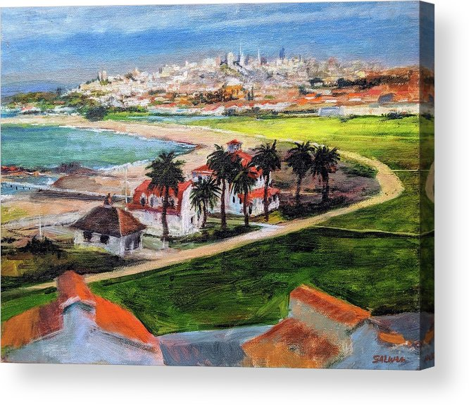 California Acrylic Print featuring the painting San Francisco From Crissy Field Overlook by Peter Salwen