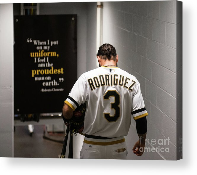 Sean Rodriguez Acrylic Print featuring the photograph Sean Rodriguez and Roberto Clemente by Justin Berl