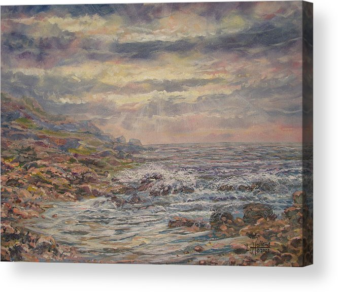 Landscape Acrylic Print featuring the painting Seascape With Clouds. by Leonard Holland