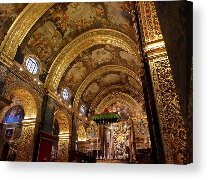 Arch Acrylic Print featuring the photograph St. John's Cathedral in Valletta by Frans Sellies