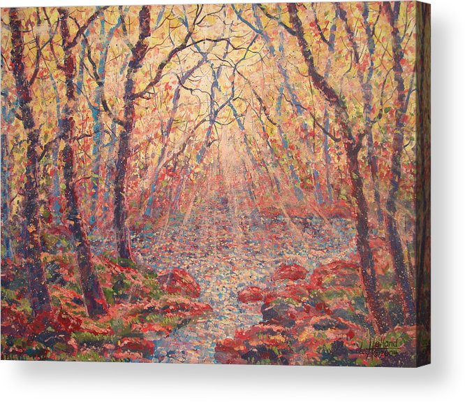 Painting Acrylic Print featuring the painting Sun Rays Through The Trees. by Leonard Holland