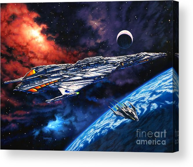 Space Ship Acrylic Print featuring the painting The Anprall by Stu Shepherd