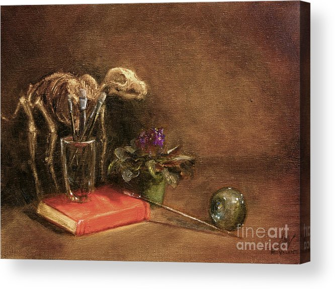 Dog Acrylic Print featuring the painting The Artist's Taboret- Cave Canum by Stella Violano