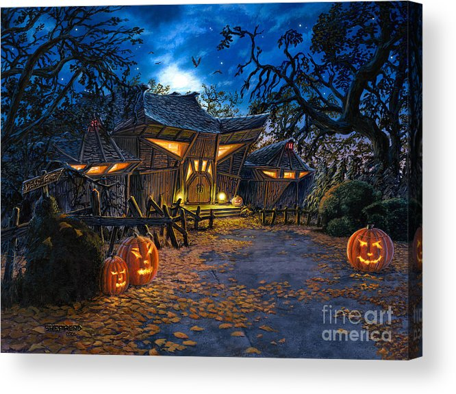 Haunted House Acrylic Print featuring the painting The House At Dead End by Stu Shepherd