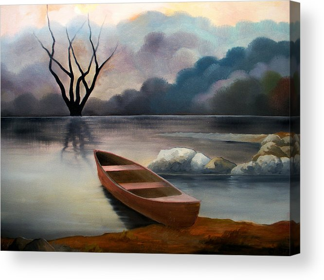 Duck Acrylic Print featuring the painting Tranquility by Sergey Bezhinets