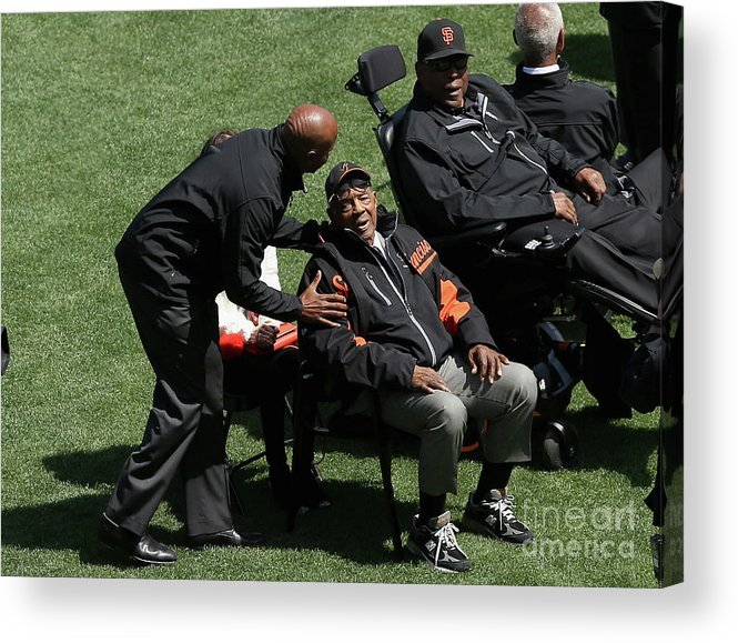 San Francisco Acrylic Print featuring the photograph Willie Mays, Barry Bonds, and Willie Mccovey by Ezra Shaw
