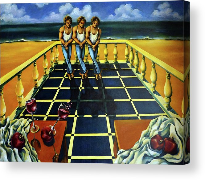 Surreal Acrylic Print featuring the painting Wine and Pomegranates by Valerie Vescovi