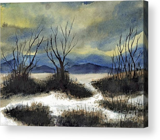 California Acrylic Print featuring the painting Winter Cold Big Bear Lake by Randy Sprout