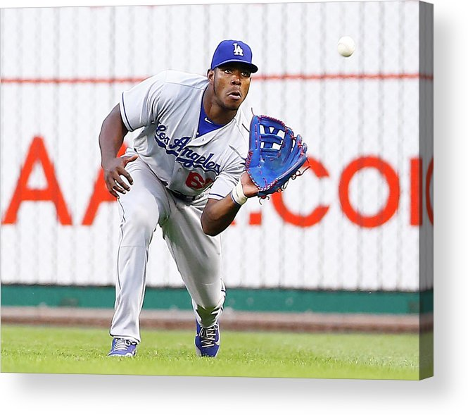 People Acrylic Print featuring the photograph Yasiel Puig by Jared Wickerham