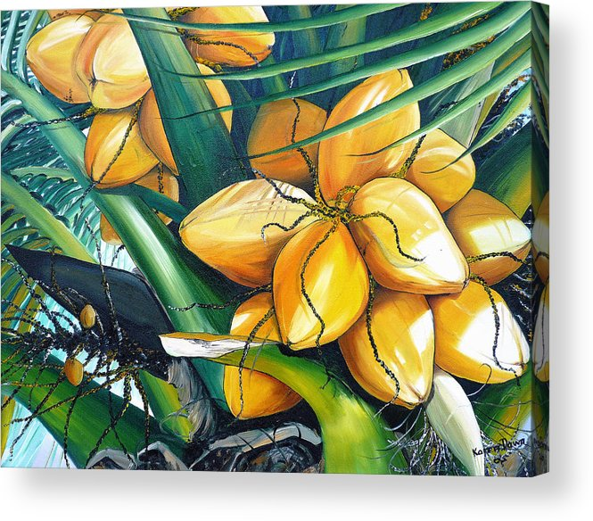 Coconut Painting Botanical Painting  Tropical Painting Caribbean Painting Original Painting Of Yellow Coconuts On The Palm Tree Acrylic Print featuring the painting Yellow Coconuts by Karin Dawn Kelshall- Best