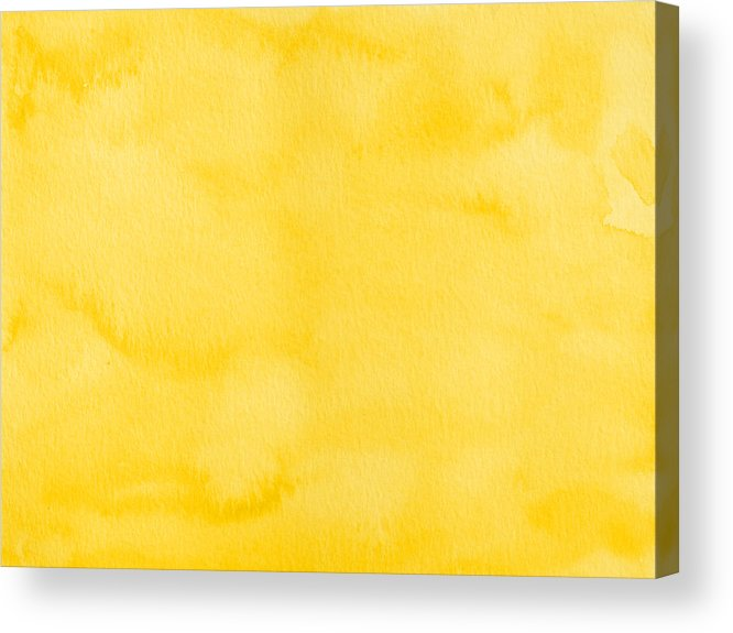 Material Acrylic Print featuring the photograph Yellow watercolor texture background by Flavio Coelho