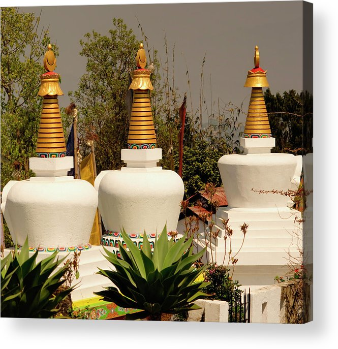Ancient Acrylic Print featuring the photograph Stupas In A Buddhist Monastery by Jaina Mishra