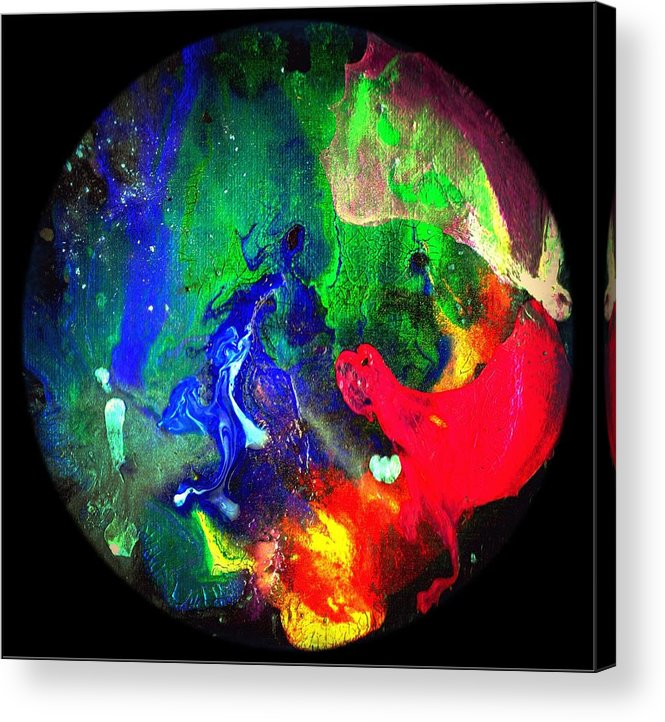 Round Acrylic Print featuring the painting Abstract - Evolution Series 1002 by Dina Sierra